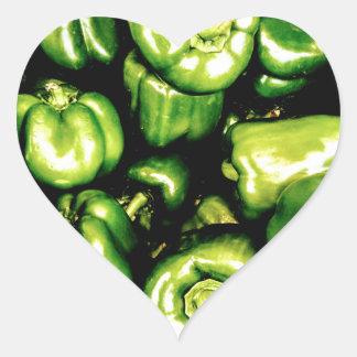 Paprikas Verdes Pegatina En Forma De Corazón