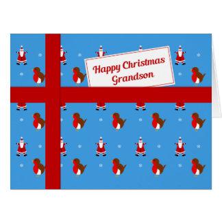 Paquete azul del navidad del nieto tarjeta de felicitación grande