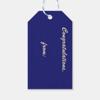 Paquete de la enhorabuena de etiquetas azules de etiquetas para regalos