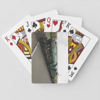 Paquete de tarjetas con la locomotora de vapor baraja de cartas