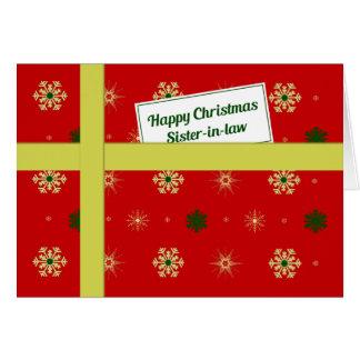 Paquete rojo del navidad de la cuñada tarjeta de felicitación
