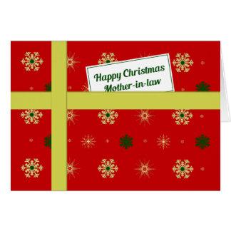 Paquete rojo del navidad de la suegra tarjeta de felicitación