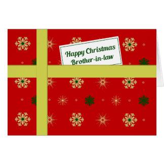 Paquete rojo del navidad del cuñado tarjeta de felicitación