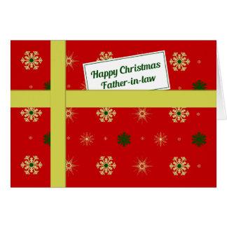 Paquete rojo del navidad del suegro tarjeta