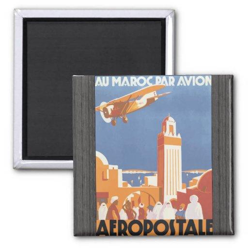 Par Avion Aeropostale, vintage de Maroc del Au Imán Para Frigorifico