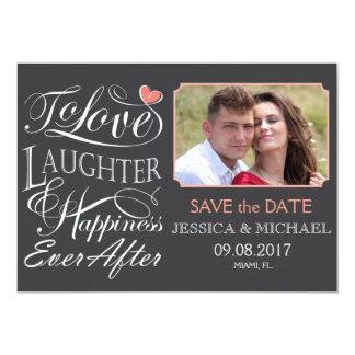 Para amar, risa y felicidad nunca después de cita invitación 12,7 x 17,8 cm
