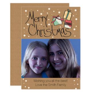 Para arriba envuelta tarjeta retra de la foto del invitación 12,7 x 17,8 cm
