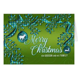 para el ahijado y familia verdes claros y turquesa tarjeta