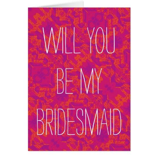 Para el amor de bodas - sea mi dama de honor tarjeta de felicitación