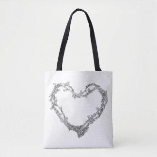 Para el amor - tote del corazón de la guita bolsa de tela