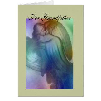 Para el ángel de abuelo del arco iris tarjeta