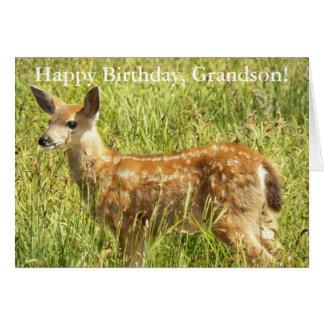 Para el cumpleaños de la foto del cervatillo de tarjeta de felicitación