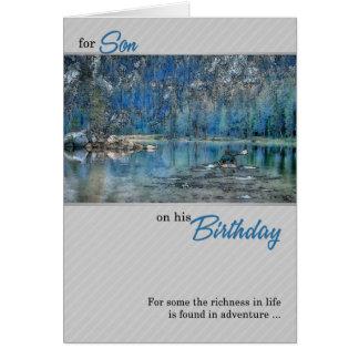 para el cumpleaños del hijo al aire libre Kayak en Tarjeta De Felicitación