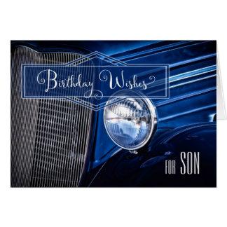 para el cumpleaños del hijo - auto clásico del tarjeta de felicitación