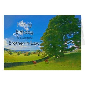 Para el cuñado, un cumpleaños pastoral del paisaje tarjeta de felicitación