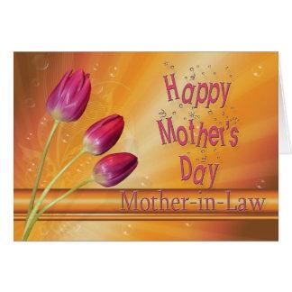 Para el día de madre de la suegra, tulipanes tarjeta de felicitación
