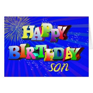 Para el hijo, letras y tarjeta de cumpleaños brill