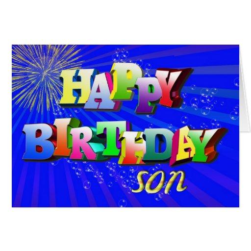 Para el hijo, letras y tarjeta de cumpleaños brill | Zazzle