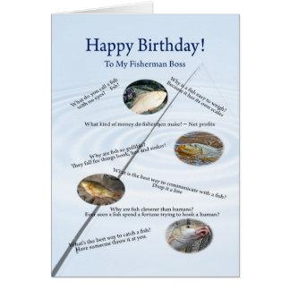 Para el jefe, pescando la tarjeta de cumpleaños de