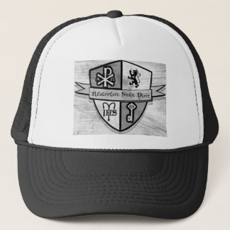 Para el logotipo blanco y negro del rey y del país gorra de camionero