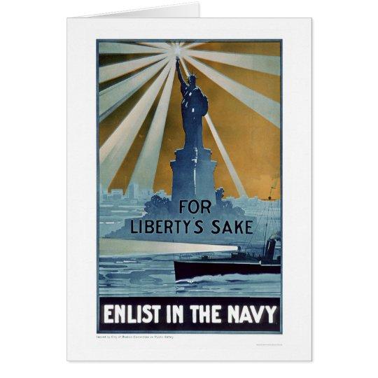 Para el motivo de la libertad, aliste en la marina tarjeta de felicitación
