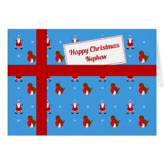 Para el paquete azul del navidad del sobrino tarjeta