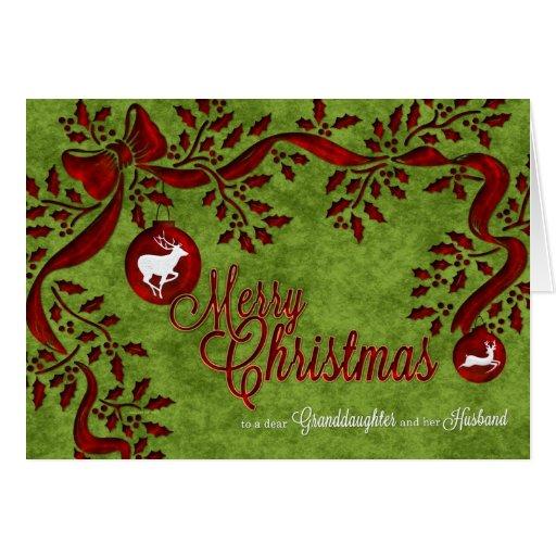 para el reno del navidad de la nieta y del marido tarjeton