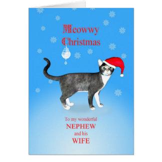 Para el sobrino y su esposa, gato del navidad de tarjeta de felicitación
