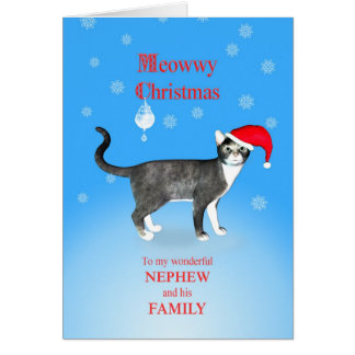 Para el sobrino y su familia, gato del navidad de  felicitación