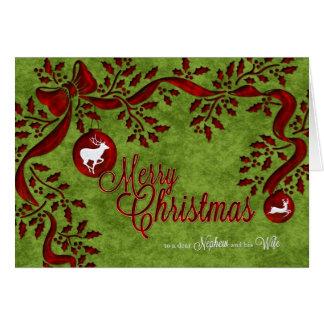 para el sobrino y su reno del navidad de la esposa tarjeta