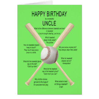 Para el tío, chistes del béisbol del cumpleaños tarjeta de felicitación