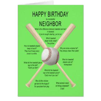 Para el vecino, chistes del béisbol del cumpleaños tarjeta de felicitación