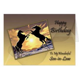 Para el yerno, tarjeta de cumpleaños con alzar