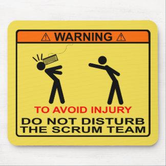 Para evitar lesión, no perturbe al equipo del melé alfombrilla de ratón