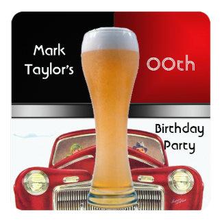 Para hombre añada el coche viejo de la cerveza invitación 13,3 cm x 13,3cm