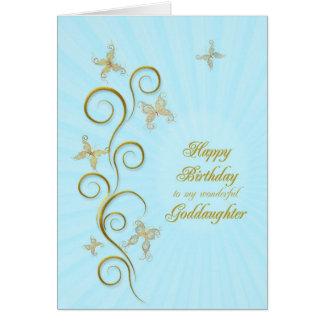 Para la ahijada, mariposas de oro del cumpleaños tarjeta de felicitación