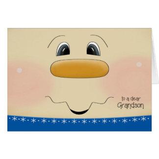 Para la cara feliz del muñeco de nieve del navidad tarjeta de felicitación