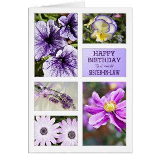 Para la cuñada, cumpleaños floral de las tarjeta de felicitación