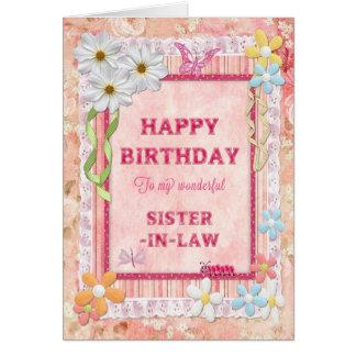 Para la cuñada, tarjeta de cumpleaños del arte