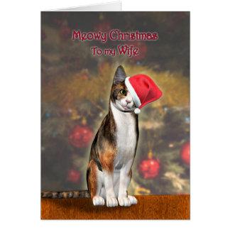 Para la esposa, un gato divertido en un gorra del tarjeta de felicitación