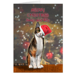 Para la hermana y la esposa un gato divertido en tarjeta de felicitación