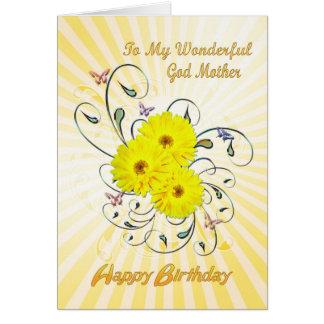 Para la madrina, cumpleaños con las flores tarjeta de felicitación