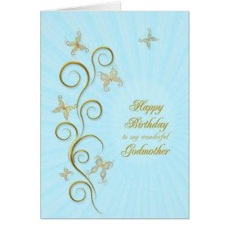 Para la madrina, cumpleaños con las mariposas de tarjeta de felicitación