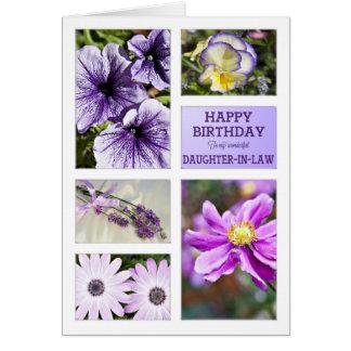 Para la nuera, cumpleaños floral de la lavanda tarjeta de felicitación