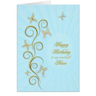 Para la sobrina, cumpleaños con las mariposas de tarjeta de felicitación