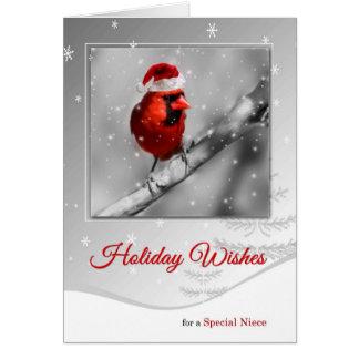 para la sobrina en pájaro cardinal rojo del tarjeta de felicitación