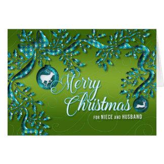 para la sobrina y marido verdes claros y turquesa tarjeta