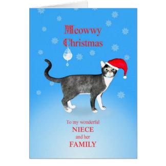 Para la sobrina y su familia, gato del navidad de  tarjeta