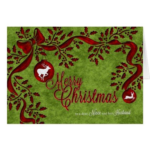 para la sobrina y su reno del navidad del marido tarjeton