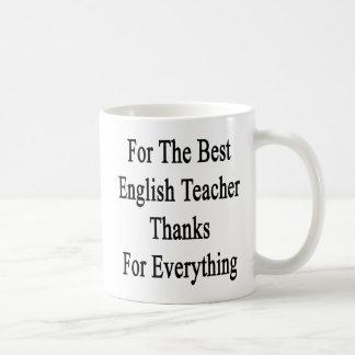 Para las mejores gracias del profesor de inglés taza de café